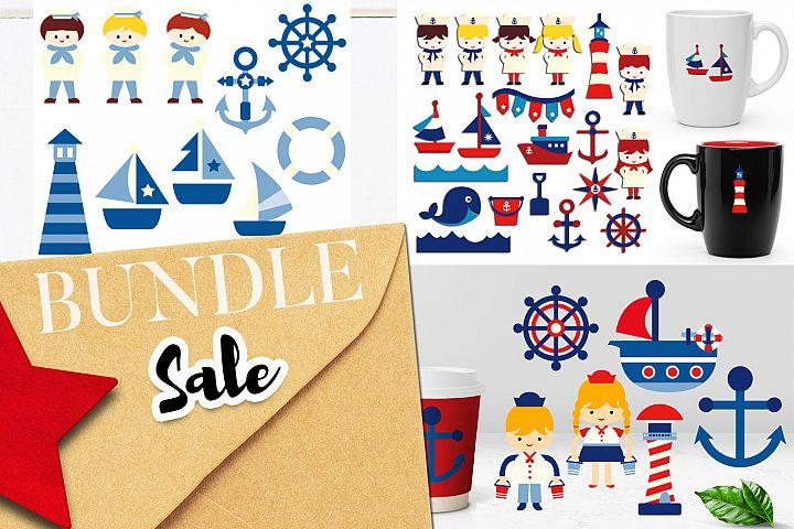 Sailor Kids - Nautical clip art illustrations bundle