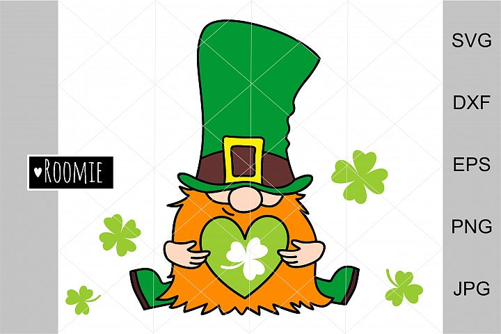 Irish gnome with clover for good luck SVG St. Patricks Day