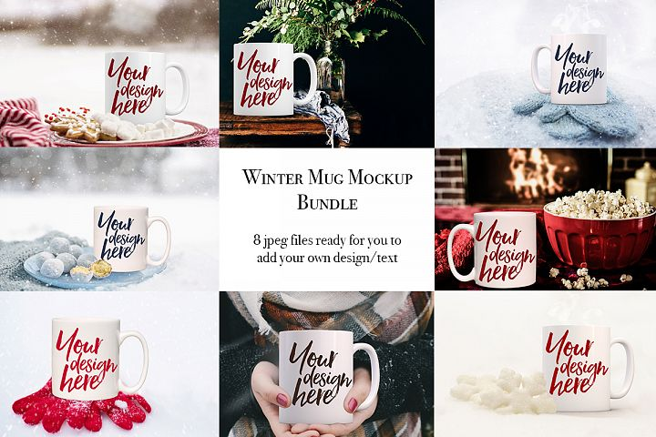 Winter mug mock-up bundle - 8 jpeg mockups