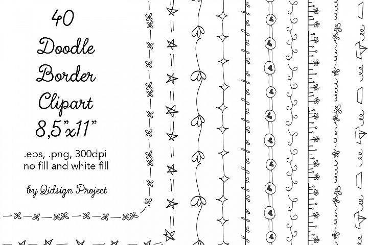 40 Doodle Border Clipart Letter Size 300 dpi