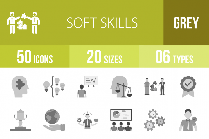 50 Soft Skills Greyscale Icons