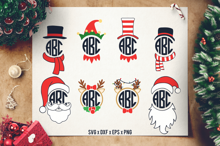 Christmas Monograms SVG - Santa Monogram SVG - Elf Monogram