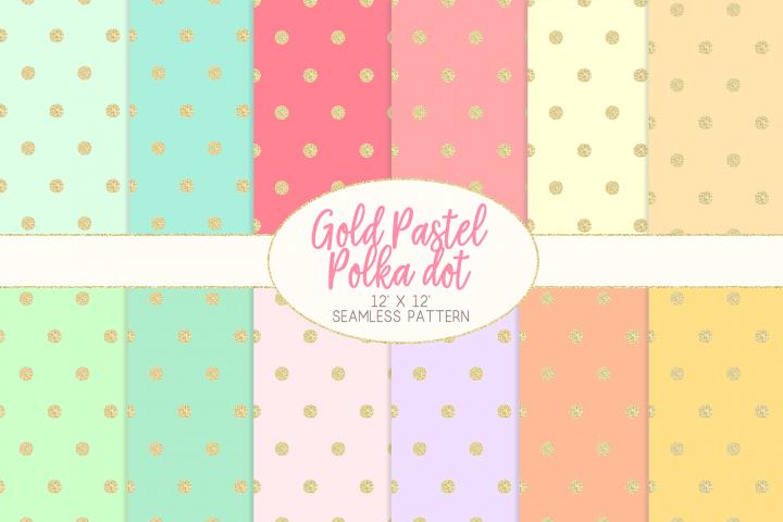 Gold Pastel Polka Dot Pattern Digital Papers