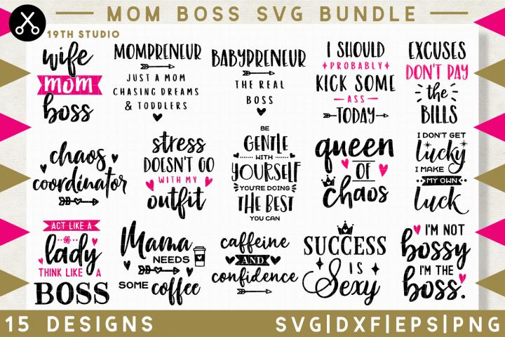 Mom boss SVG Bundle   SVG DXF EPS PNG MB34