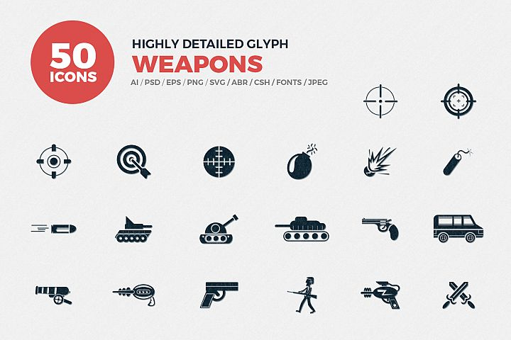 Glyph Weapons Icons Set