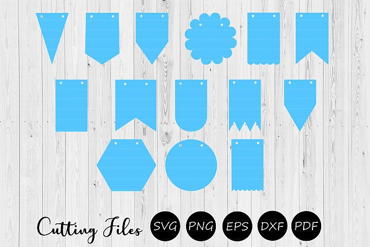 14 Bunting Banner Flags | Pennant banner | Cutting files |