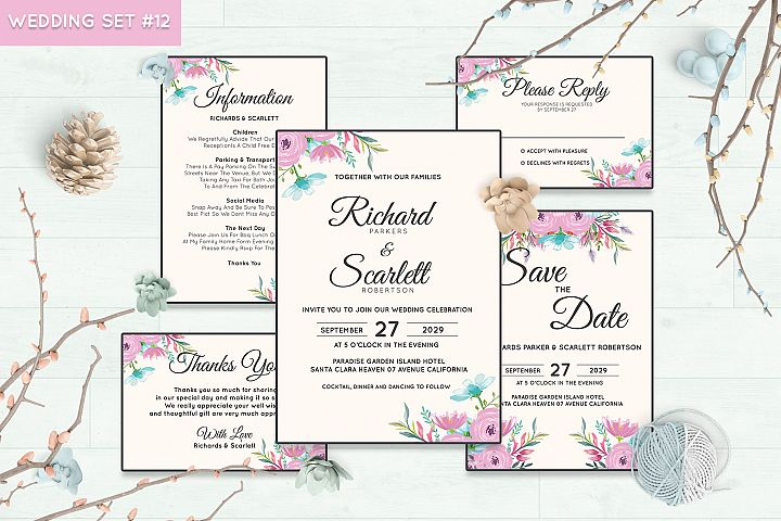 Wedding Invitation Set #12 Watercolor Floral Flower Style