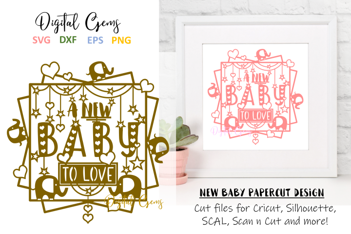 A new baby to love paper cut SVG / DXF / EPS files