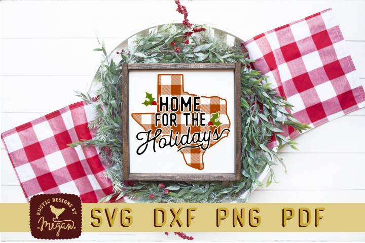 Texas Buffalo Plaid State Home For Holidays Christmas SVG