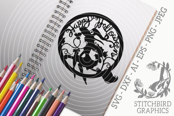 Happy Halloween Witch SVG, Silhouette Studio, Cricut, Eps
