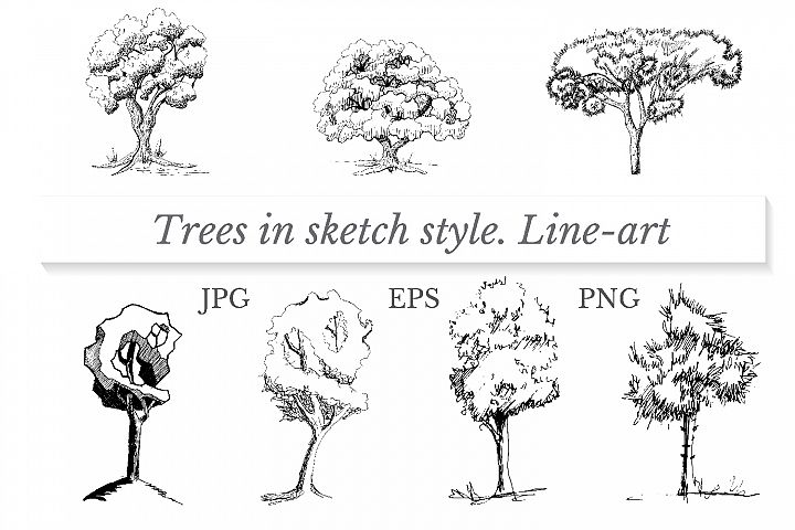 Set of trees in sketch style. Line-art.