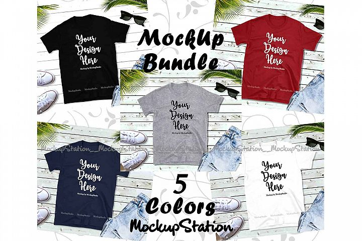 Tshirt Mockup Bundle 5 Colors Gildan 64000 Shirt Flat Lay