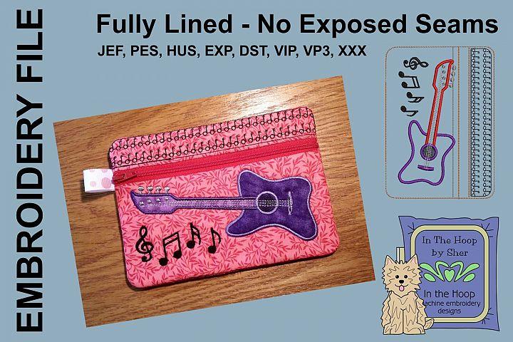 ITH Bass Guitar Zipper Bag - Fully Lined, 5X7 HOOP