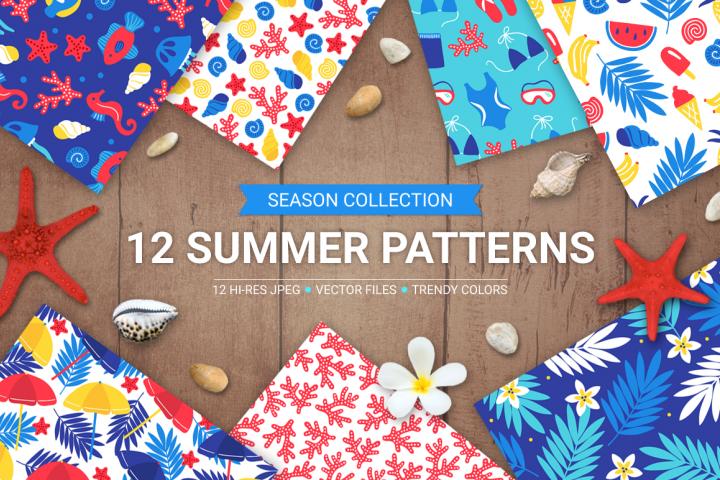 12 Summer Seamless Patterns