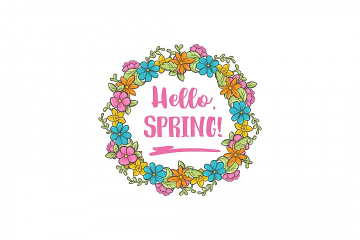 Hello Spring circle flower frame. Spring greeting card.