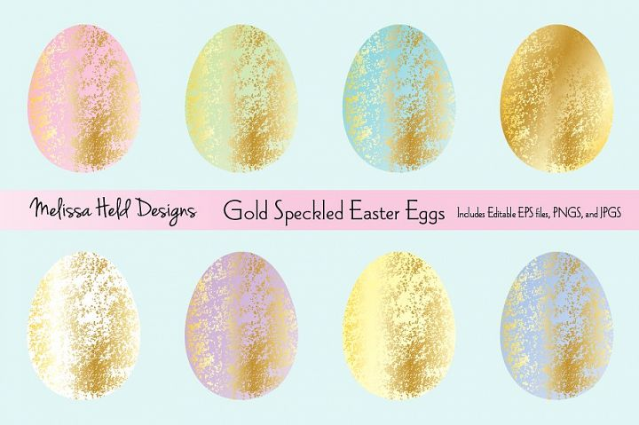 Gold Speckled Easter Egg Clipart