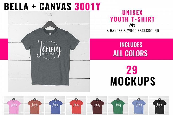Bella Canvas 3001Y Youth Unisex Mockup Bundle