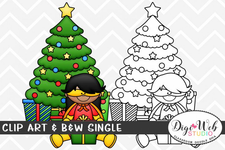 Clip Art & B&W Single - Superhero Girl w/ Christmas Tree