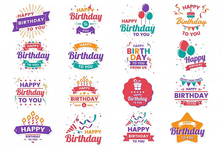 Happy Birthday Badge & Objects Vector Set