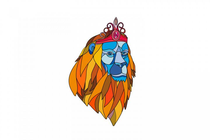Lion Wearing Tiara Mosaic Color