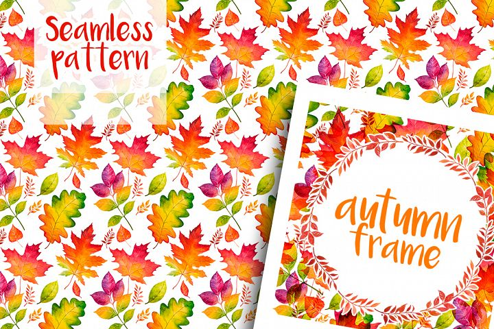 Autumn leaves. Watercolor set. example image 12