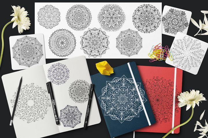 15 vector mandalas and products with mandalas ornament.