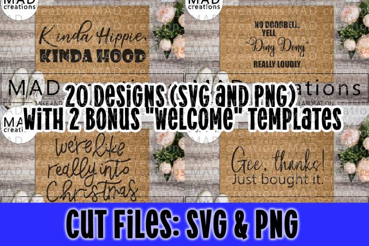 Giant 20 Welcome Doormat Bundle - SVG and PNG - Bonus Files