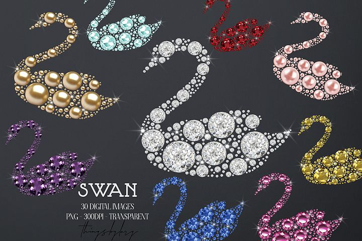 30 Diamond Pearl Gemstone Rhinestone Swan Digital Images PNG