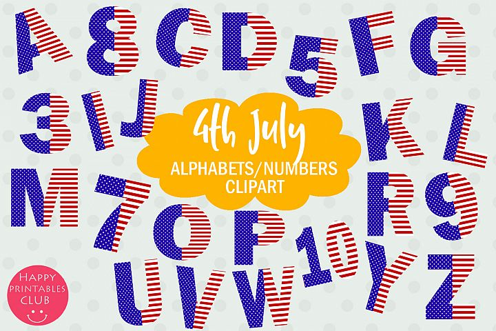 July 4 Stars and Stripes Alphabets Numbers Clipart Graphics