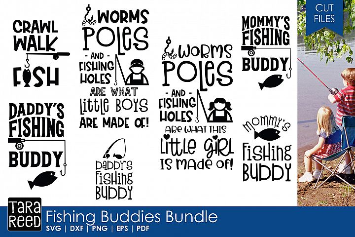 Fishing Buddies - Fishing SVG and Cut Files for Crafters