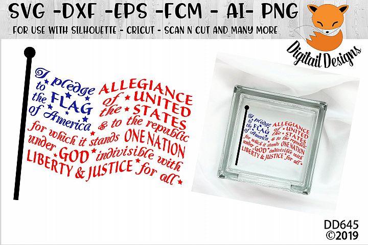 Pledge of Allegiance Flag Word Art SVG -
