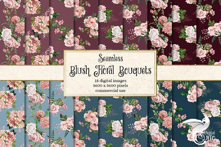 Blush Floral Bouquets Digital Paper