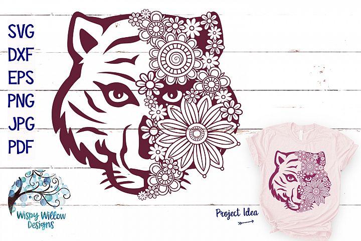 Tiger Face Mandala SVG | Tiger Zentangle SVG Cut File