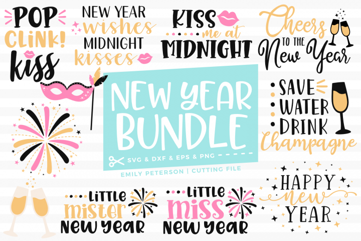 New Years Eve Bundle 11 Designs SVG DXF EPS PNG