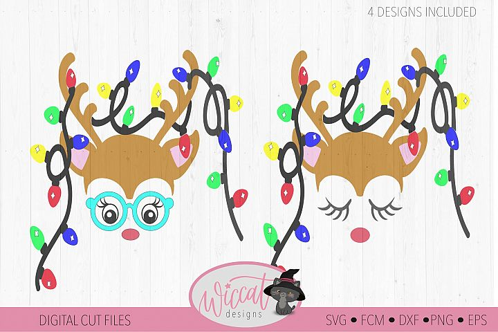 Hipster Reindeer with Christmas lights svg, Baby deer, kids