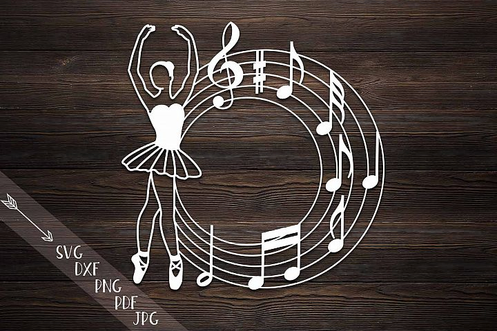 Ballerina circle music monogram papercutting vinyl cut svg