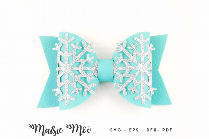 Christmas Bow SVG, Frozen Snowflake Bow Template