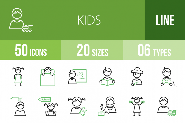50 Kids Line Green & Black Icons