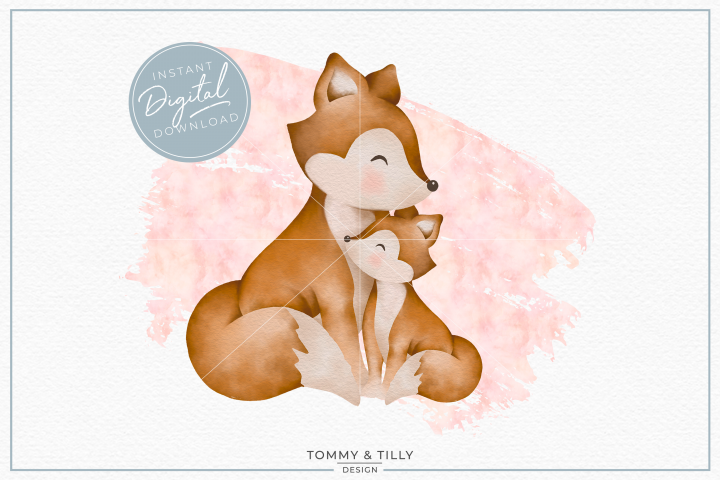 Pink Mummy and Baby Fox - Sublimation PNG Clipart