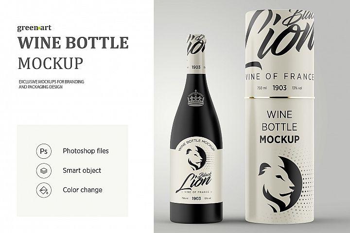 Matte Glass Wine Bottle Mockup