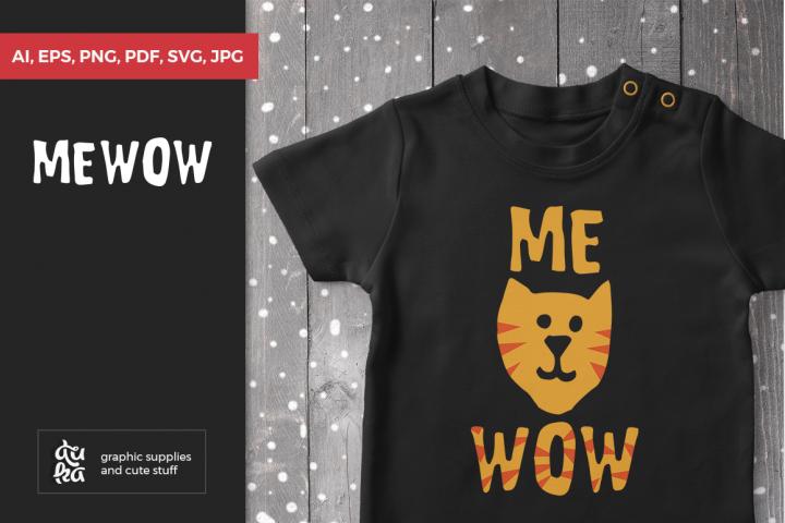 Mewow cat svg, Cat shirt svg, Scandinavian nursery, kids