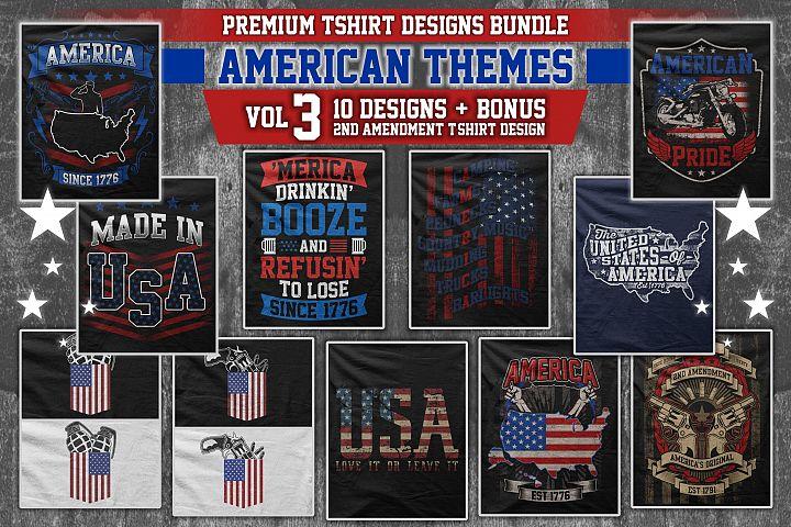 Bundle Premium T-Shirt Designs - American Themes - Volume 3