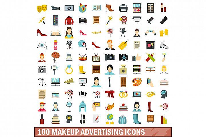 100 makeup advertising icons set, flat style