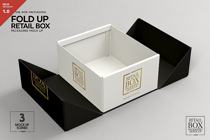 Fold Up Retail Box Packaging Mockup