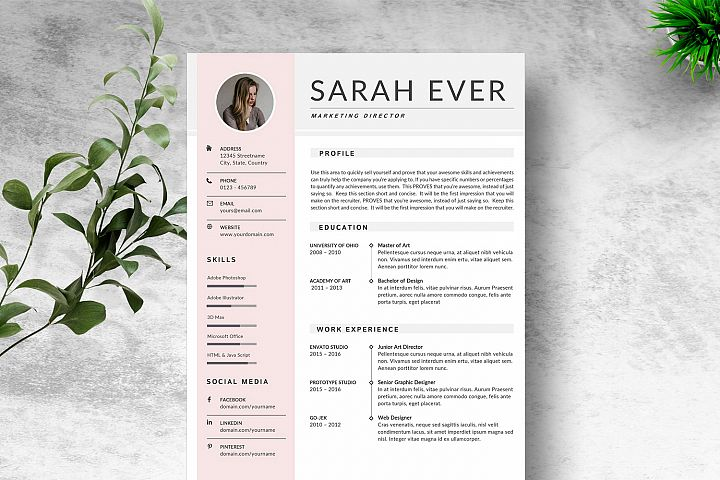 Modern SImple Resume Template Microsoft Word & Google Docs