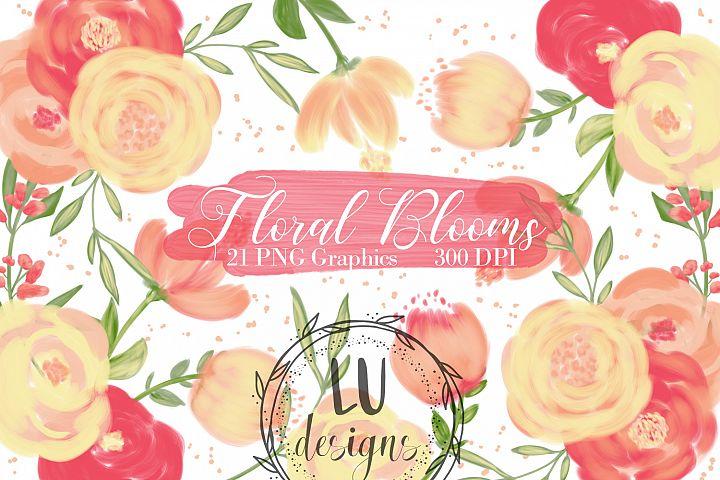 Orange Flowers Clipart, Floral Wedding Bouquets Graphics