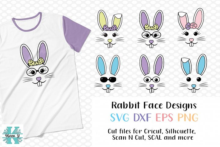Easter Bunny Face Bundle- SVG DXF EPS PNG for crafters