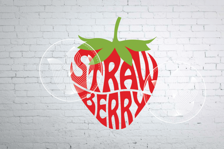 Digital Strawberry word art, Strawberry jpg, png, eps, svg