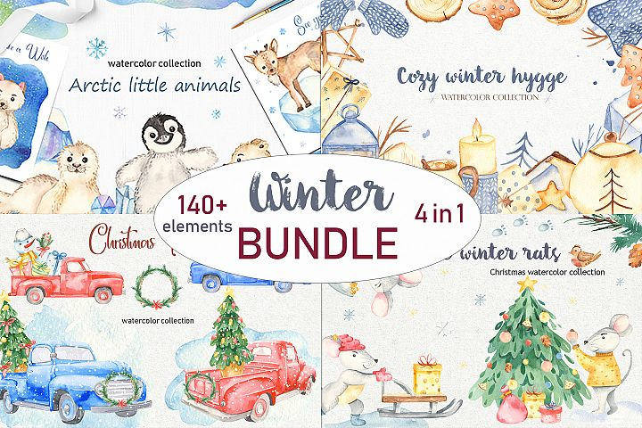 Winter BUNDLE Watercolor