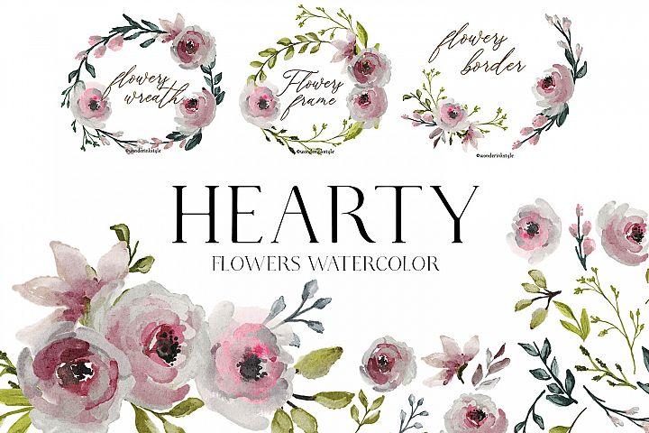 flowers watercolor clipart floral elements wreath leaf loose